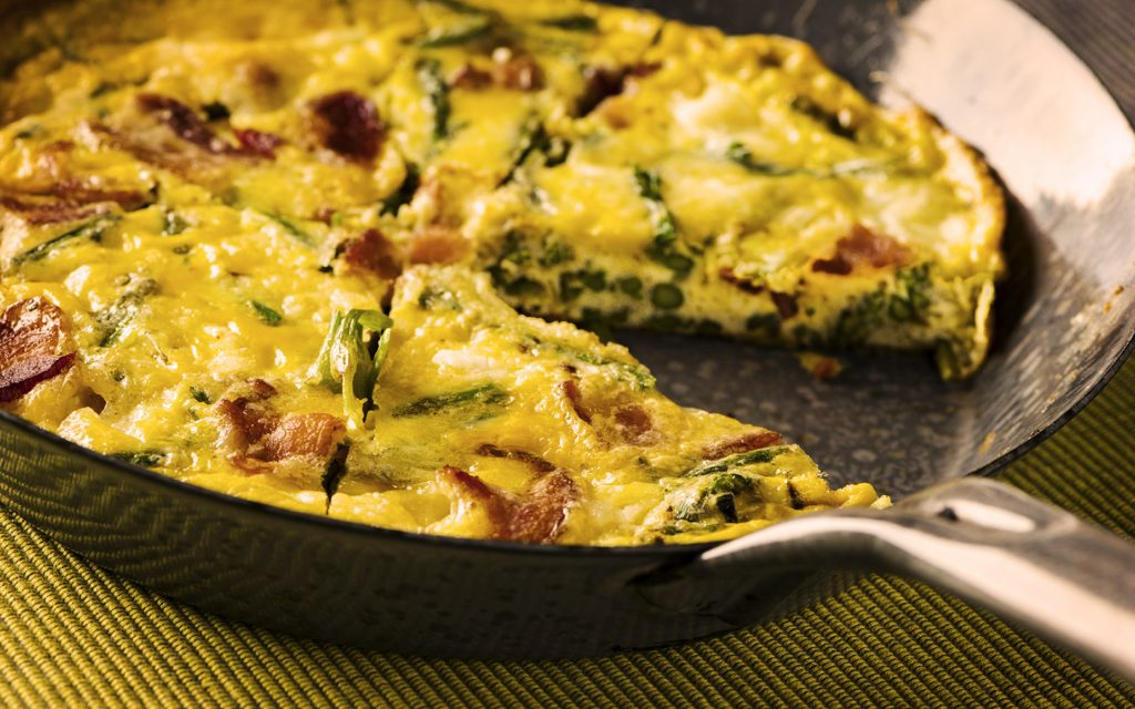 Cannabis-infused goat cheese and asparagus frittata