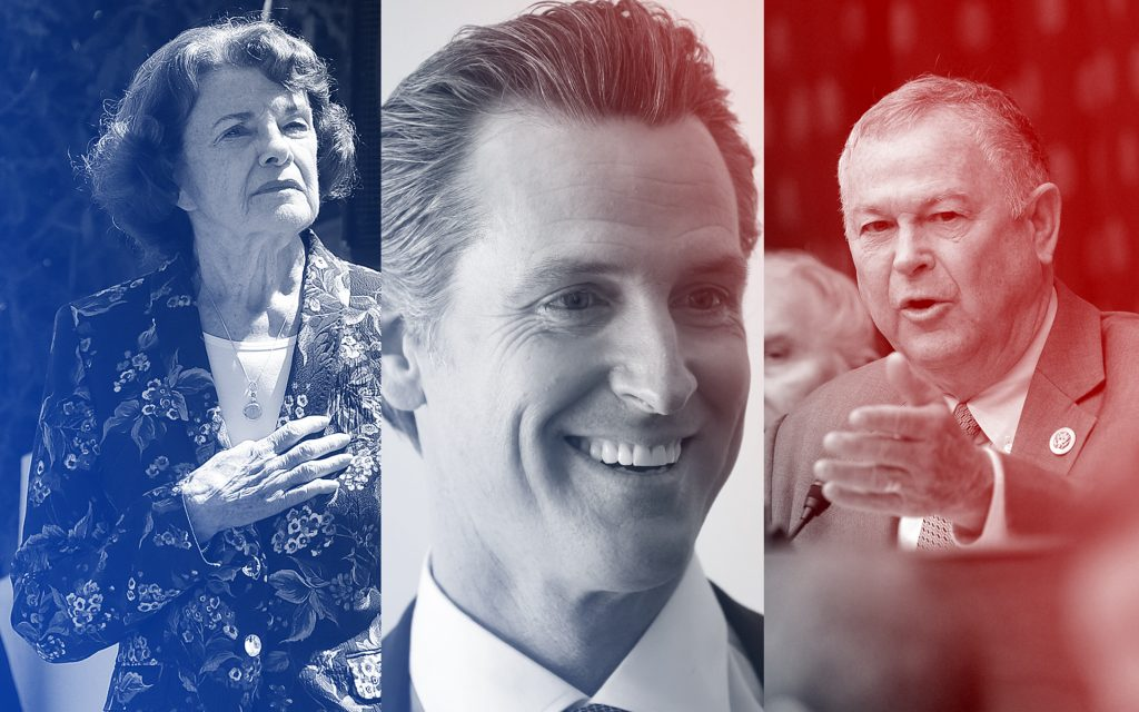 Sen. Diane Feinstein, Lt. Gov. Gavin Newsom, and Rep. Dana Rohrabacher took pro-cannabis positions on their way to Tuesday wins. (Jeff Chiu, Denis Poroy, Susan Walsh/AP)