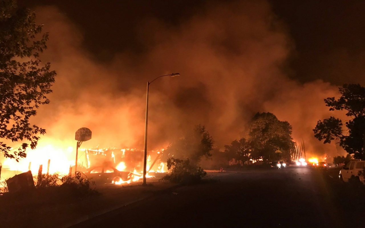 Carr Fire touches top cannabis growers Alien Labs (photo via KRCR on Facebook)