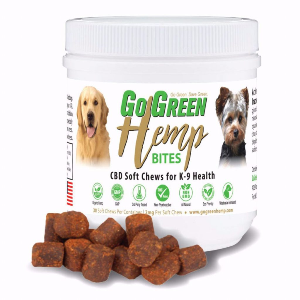 CBD product for dogs scared of fireworks #5: CBD Soft Chew Bites by GoGreen Hemp