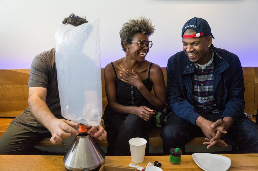 8cc34eeeda2a Emerald Farm Tour members share a laugh as the volcano inflates. (James  Tensuan for Leafly)