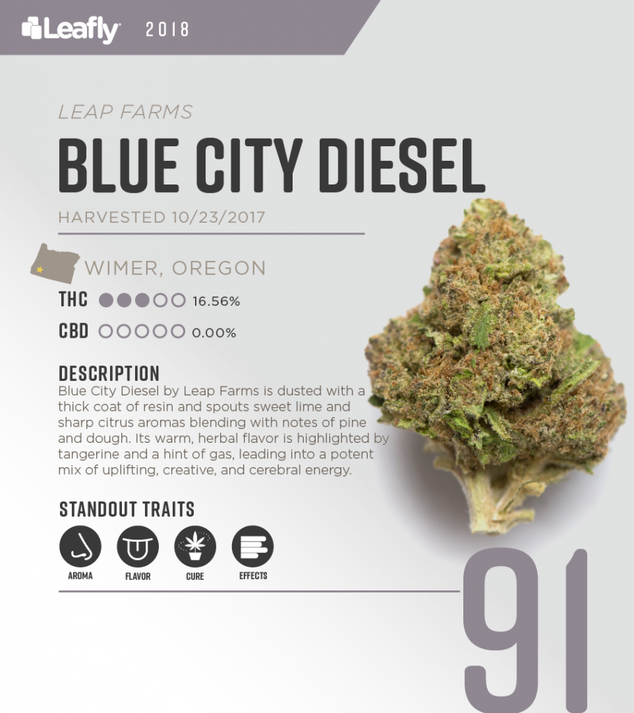 High-THC weed strains in Oregon: Blue City Diesel