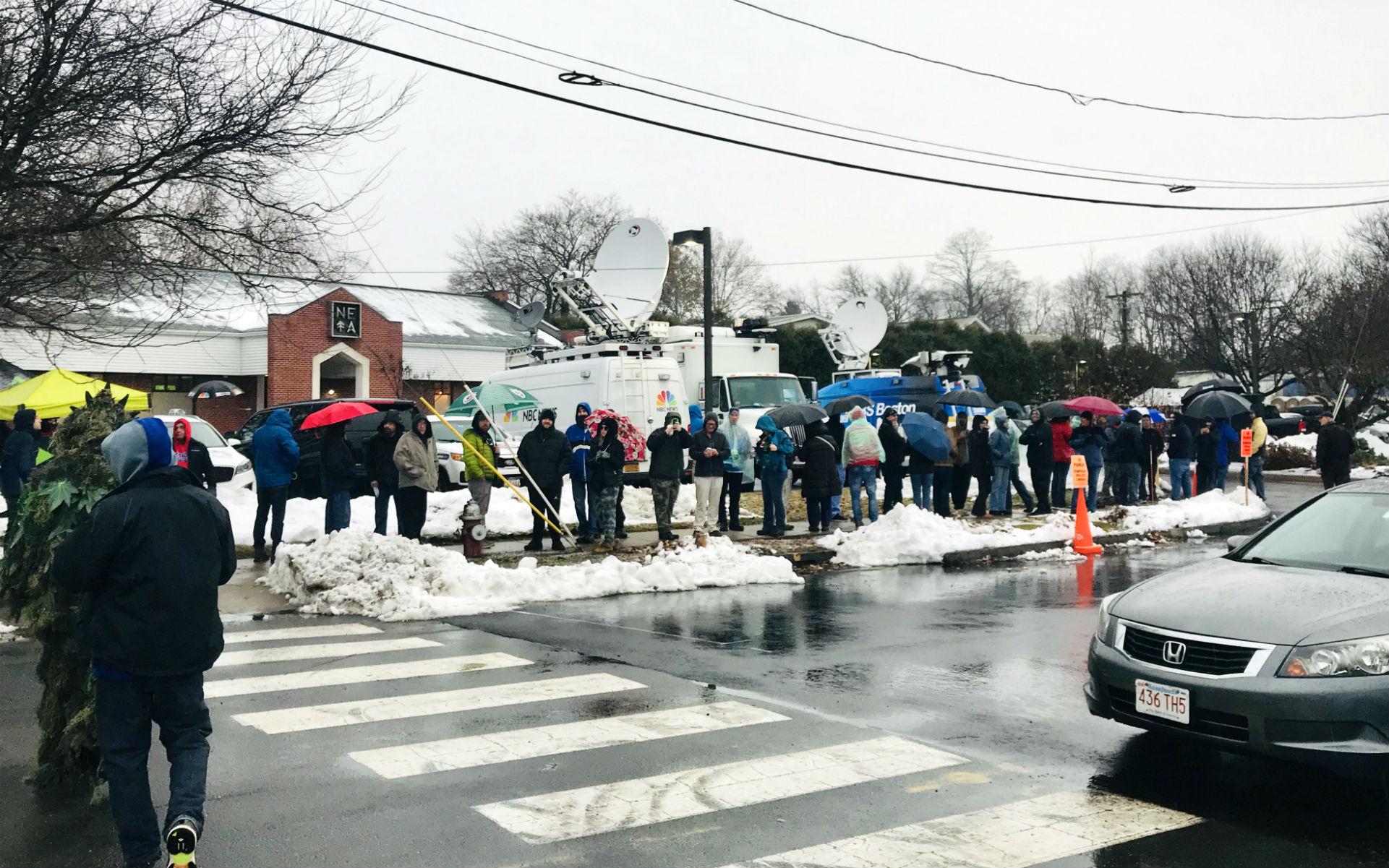 customers wait in line outside NETA in Northampton