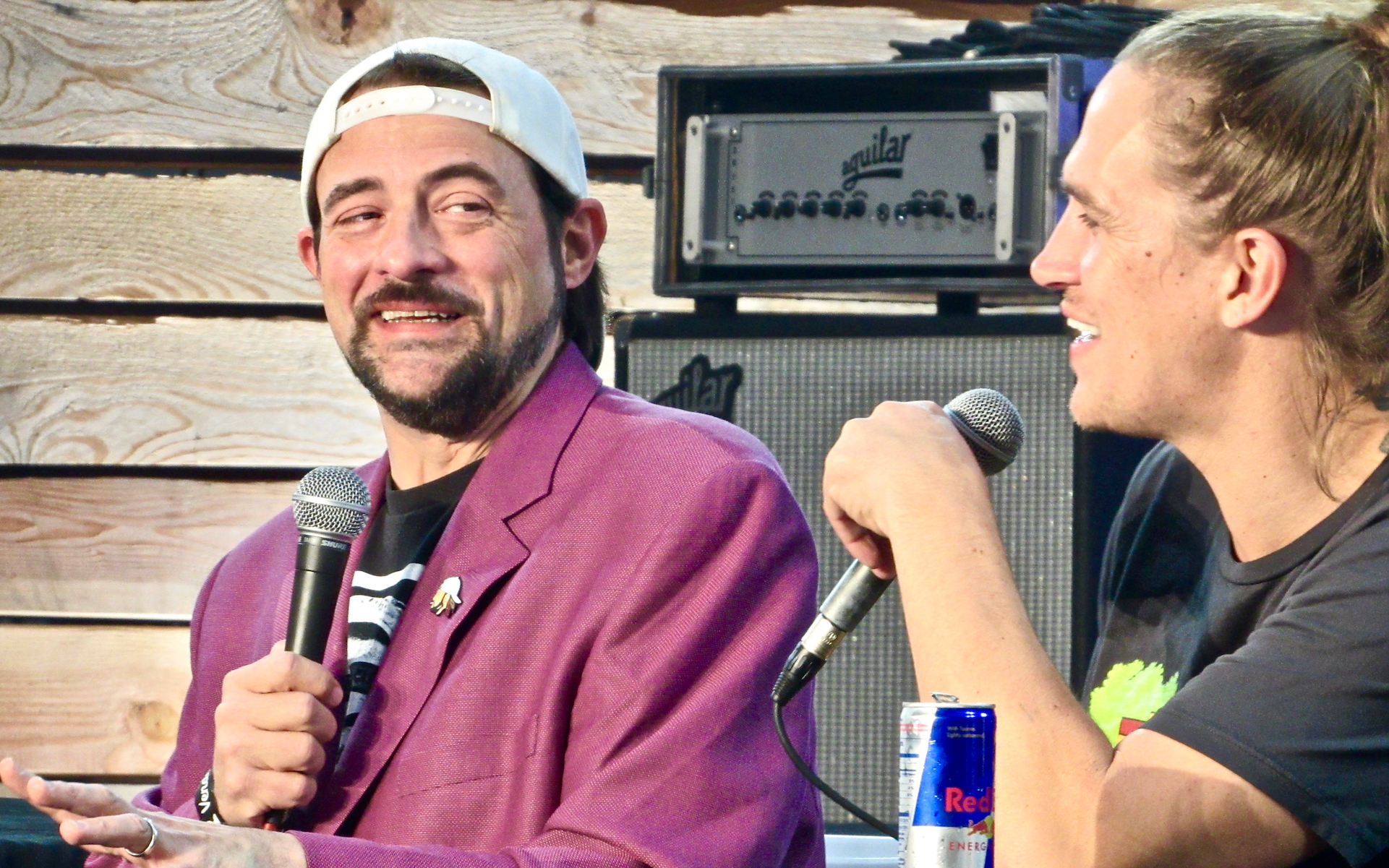 Director Kevin Smith and actor Jason Mewes record an episode of 'Jay and Silent Bog Get Old' Saturday. (David Downs/Leafly)
