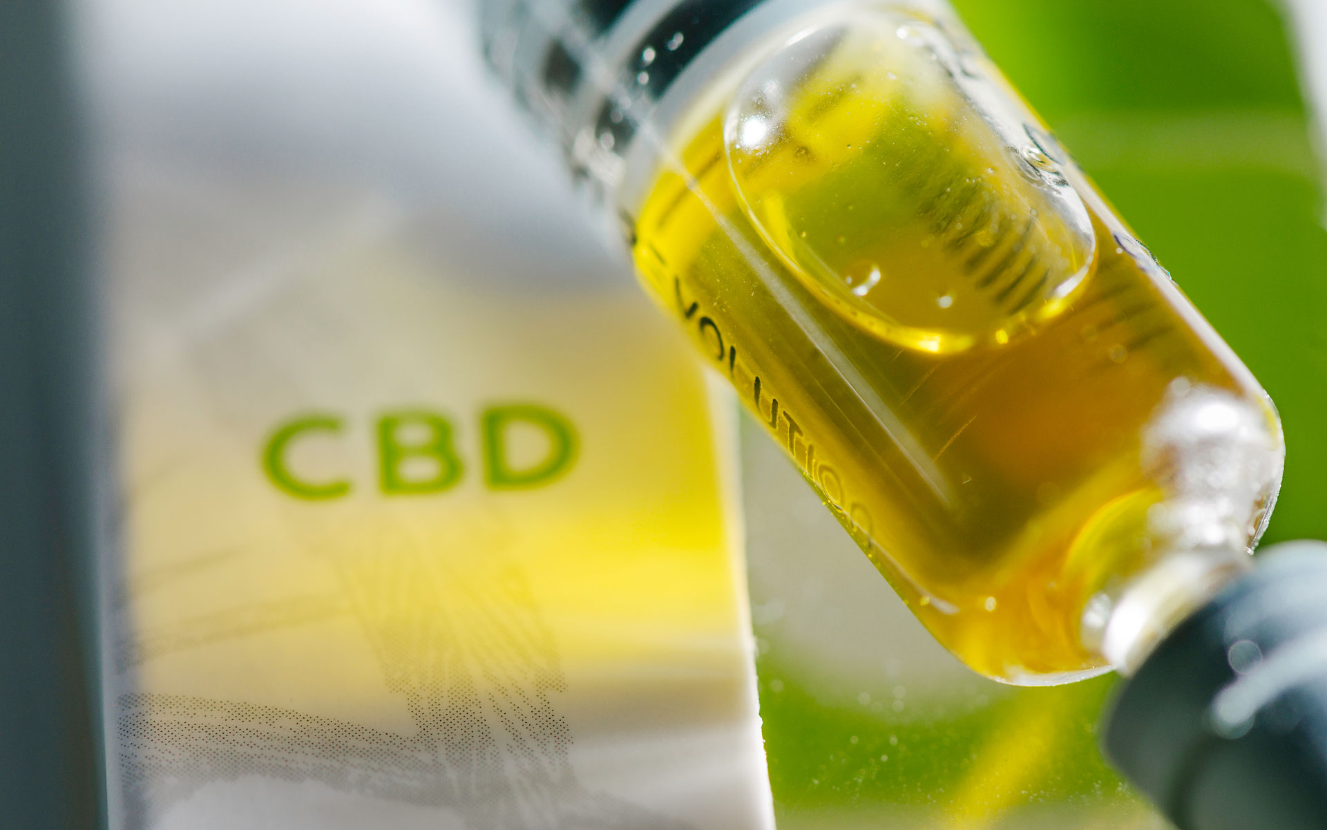 Serum CBD RSO in packaging with 'CBD' label visible