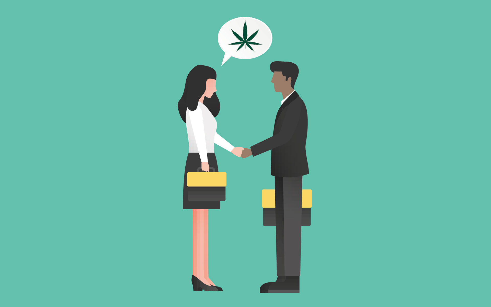 Two people shake hands, above them is a speech bubble with an image of a cannabis leaf.