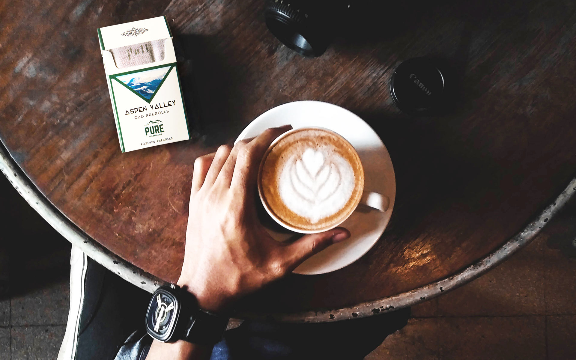 CBD hemp cigarettes and coffee