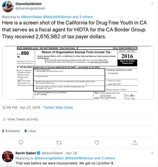 SAM twitter screenshot: funding sources