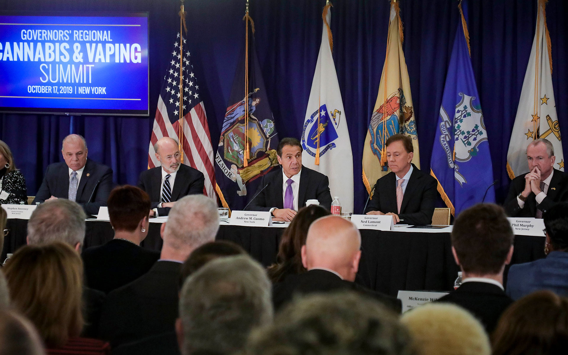 marijuana legalization new york — Pennsylvania Gov. Tom Wolf, third from left, New York Gov. Andrew Cuomo, center, Connecticut Gov. Ned Lamont, second from right, and New Jersey Gov. Phil Murphy, right, co-host a regional summit on public health issues around cannabis and vaping, Thursday Oct. 17, 2019, in New York. Unregulated THC products in Northeast states have sickened hundreds and killed several residents there this fall. (Bebeto Matthews/AP)