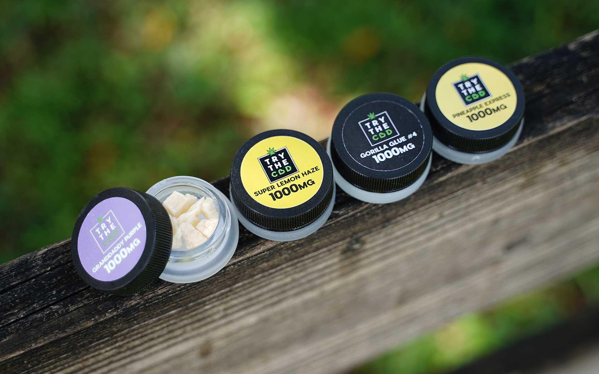 Try The CBD isolate jars in Super Lemon Haze, Grandaddy Purple, Gorilla Glue and Pineapple Express