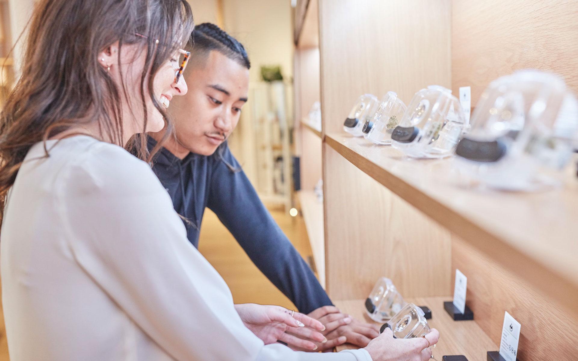 Leafly best budtenders; budtender helping a customer